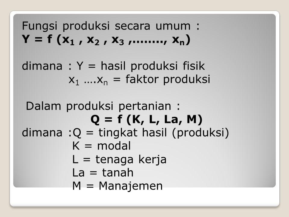 Fungsi produksi secara umum : Y = f (x1 , x2 , x3 ,……