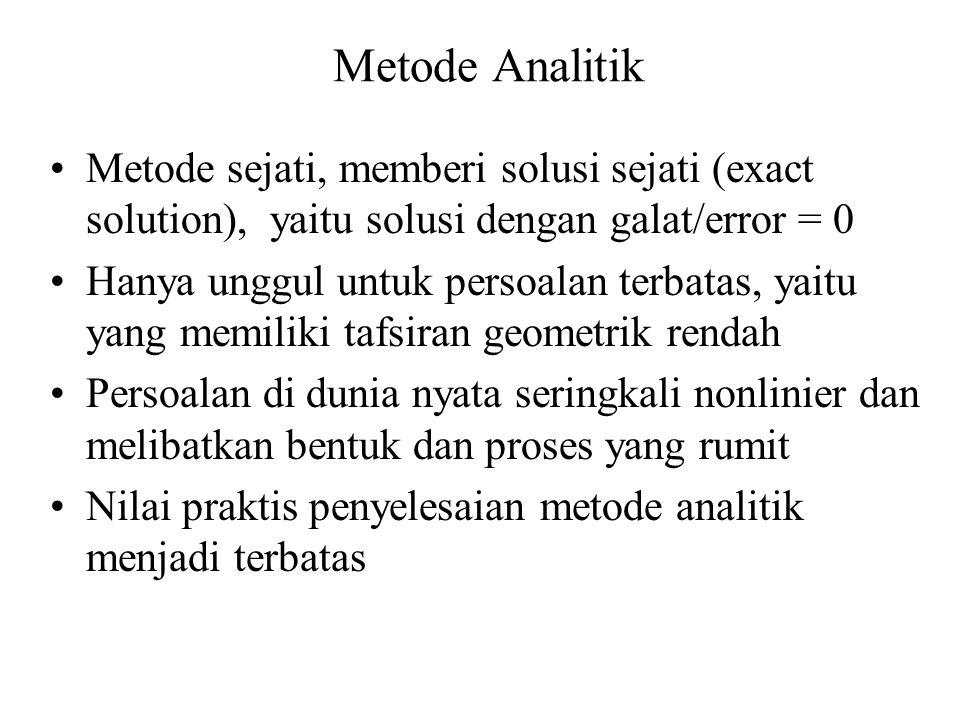Metode Analitik Metode sejati, memberi solusi sejati (exact solution), yaitu solusi dengan galat/error = 0.