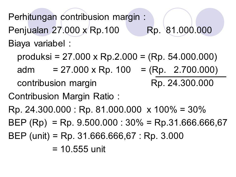 Perhitungan contribusion margin :