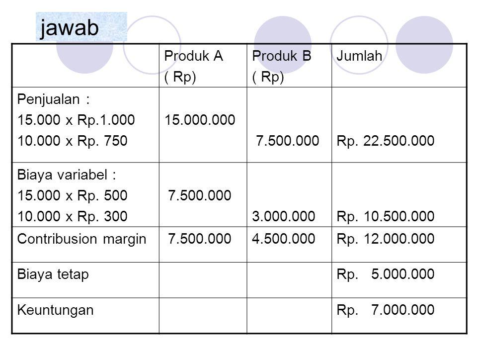 jawab Produk A ( Rp) Produk B Jumlah Penjualan : 15.000 x Rp.1.000