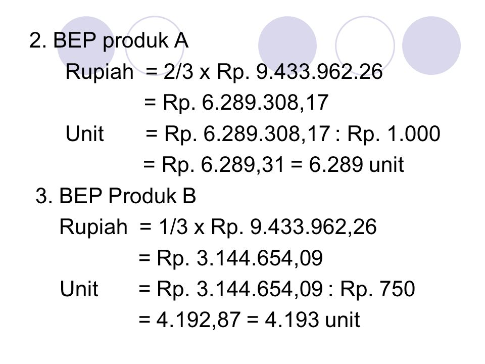 2. BEP produk A Rupiah = 2/3 x Rp. 9.433.962.26. = Rp. 6.289.308,17. Unit = Rp. 6.289.308,17 : Rp. 1.000.