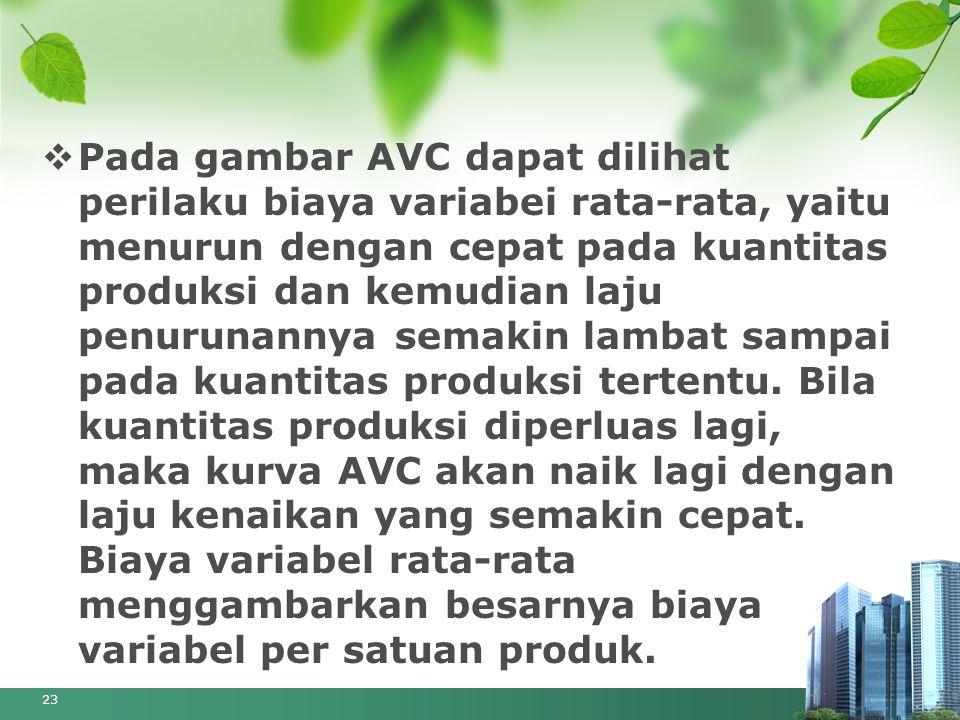 Pada gambar AVC dapat dilihat perilaku biaya variabei rata-rata, yaitu menurun dengan cepat pada kuantitas produksi dan kemudian laju penurunannya semakin lambat sampai pada kuantitas produksi tertentu.
