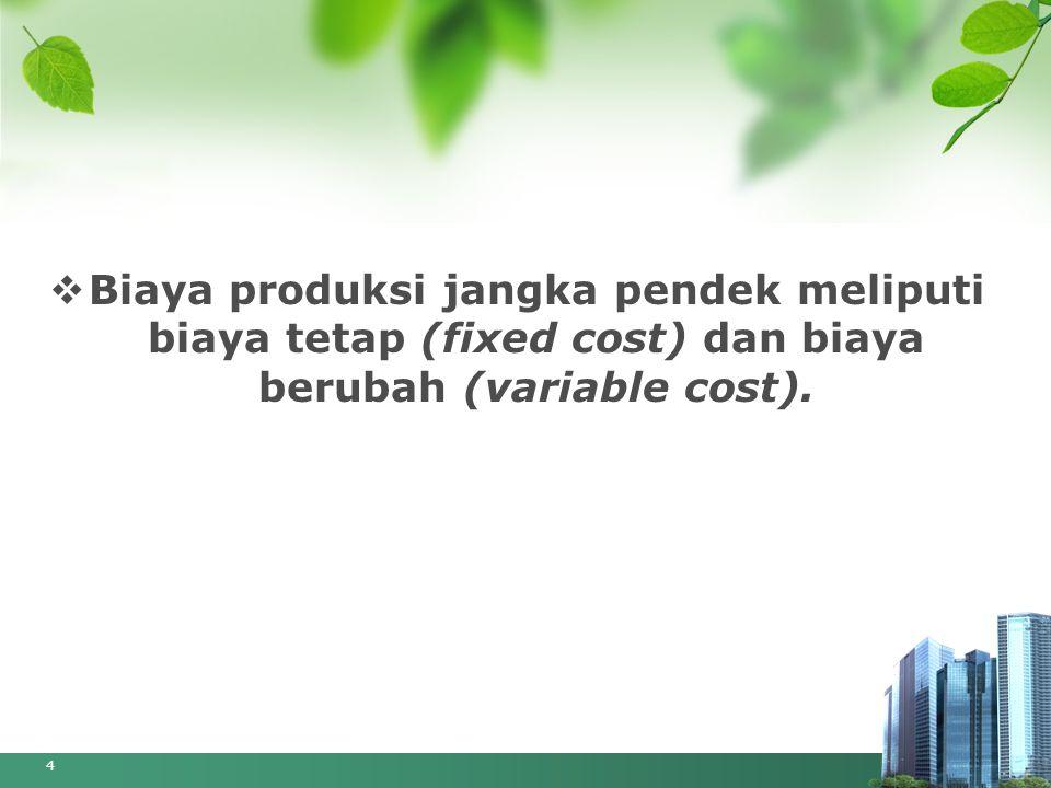 Biaya produksi jangka pendek meliputi biaya tetap (fixed cost) dan biaya berubah (variable cost).