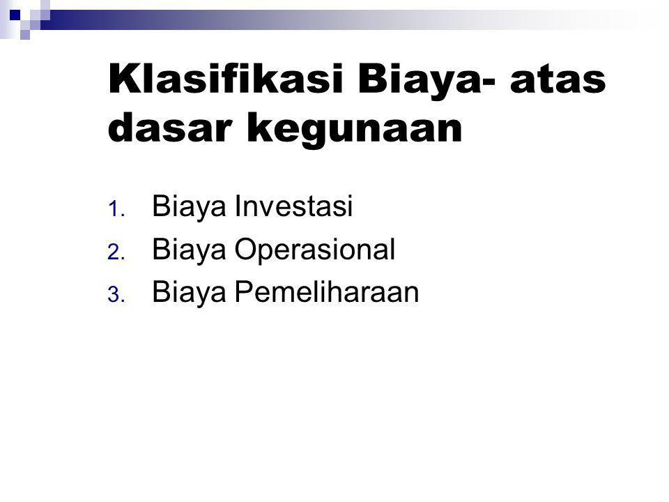 Klasifikasi Biaya- atas dasar kegunaan
