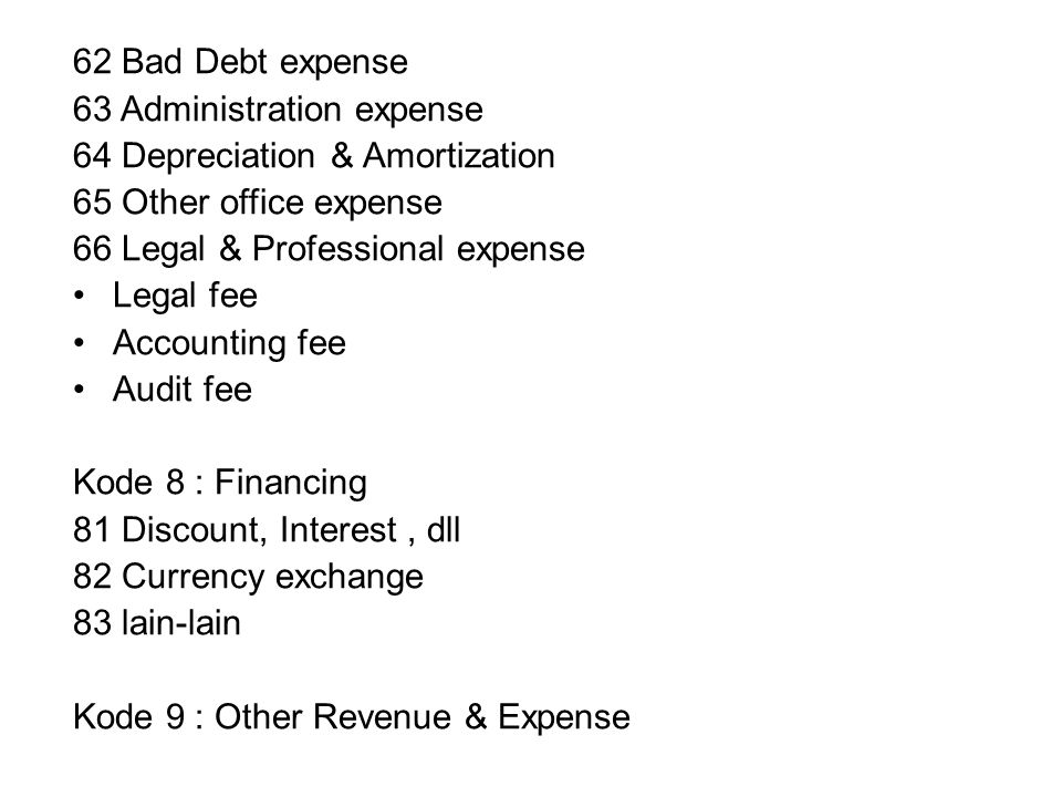 62 Bad Debt expense 63 Administration expense. 64 Depreciation & Amortization. 65 Other office expense.