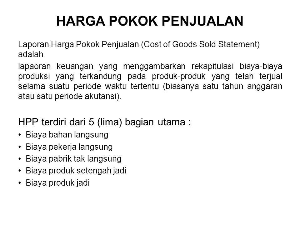 HARGA POKOK PENJUALAN HPP terdiri dari 5 (lima) bagian utama :