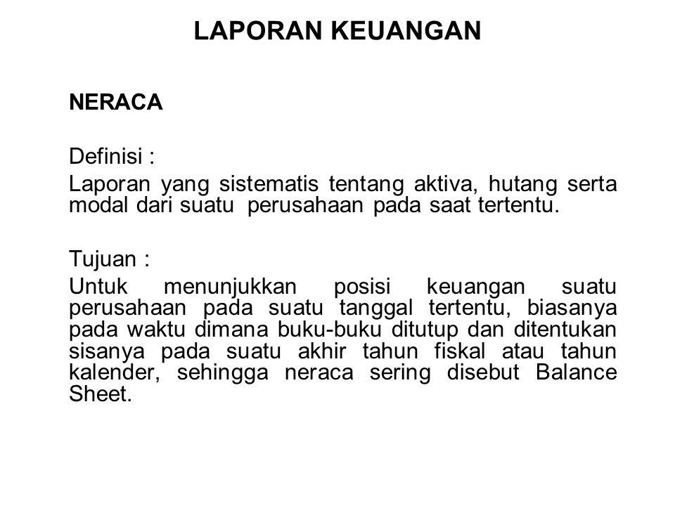 LAPORAN KEUANGAN NERACA Definisi :