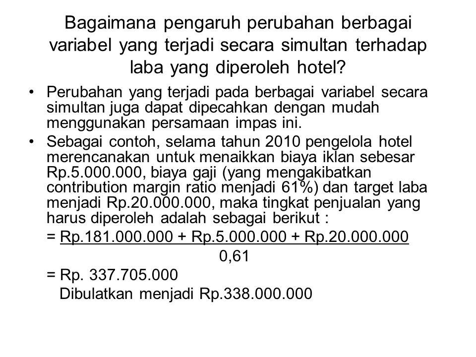 Bagaimana pengaruh perubahan berbagai variabel yang terjadi secara simultan terhadap laba yang diperoleh hotel