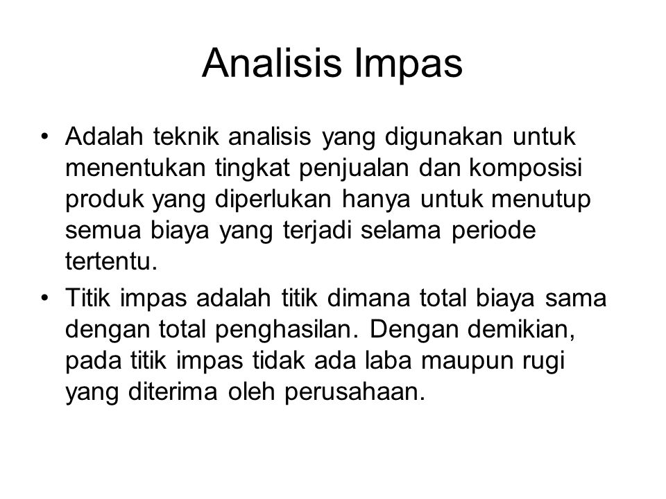 Analisis Impas