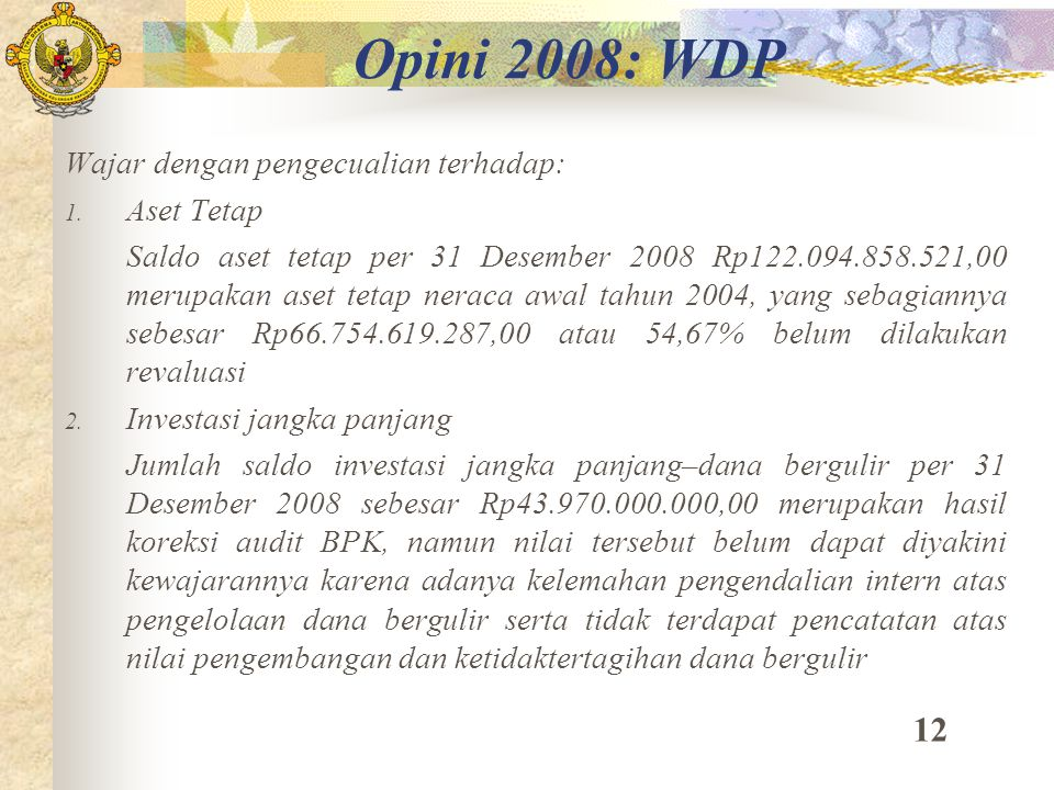 Opini 2008: WDP 12 Wajar dengan pengecualian terhadap: Aset Tetap