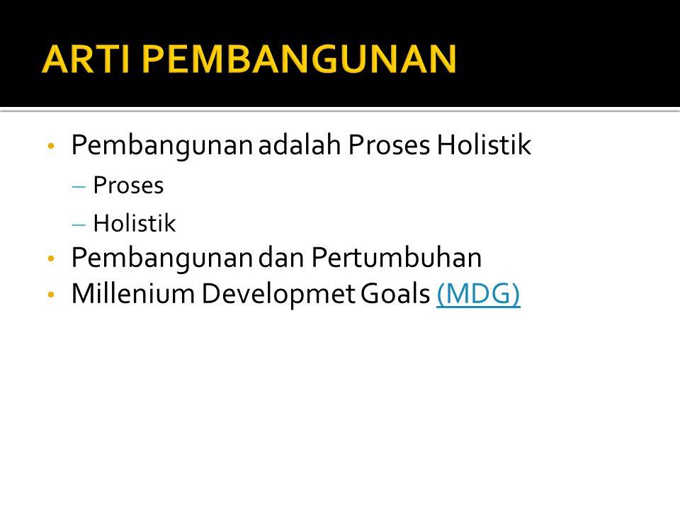 ARTI PEMBANGUNAN Pembangunan adalah Proses Holistik