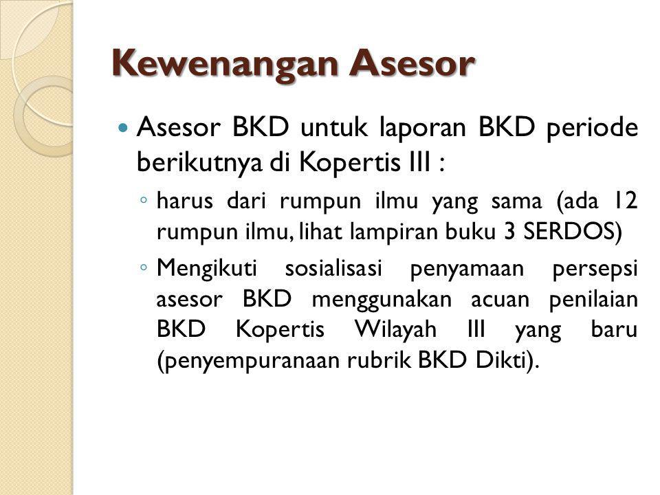 Kewenangan Asesor Asesor BKD untuk laporan BKD periode berikutnya di Kopertis III :