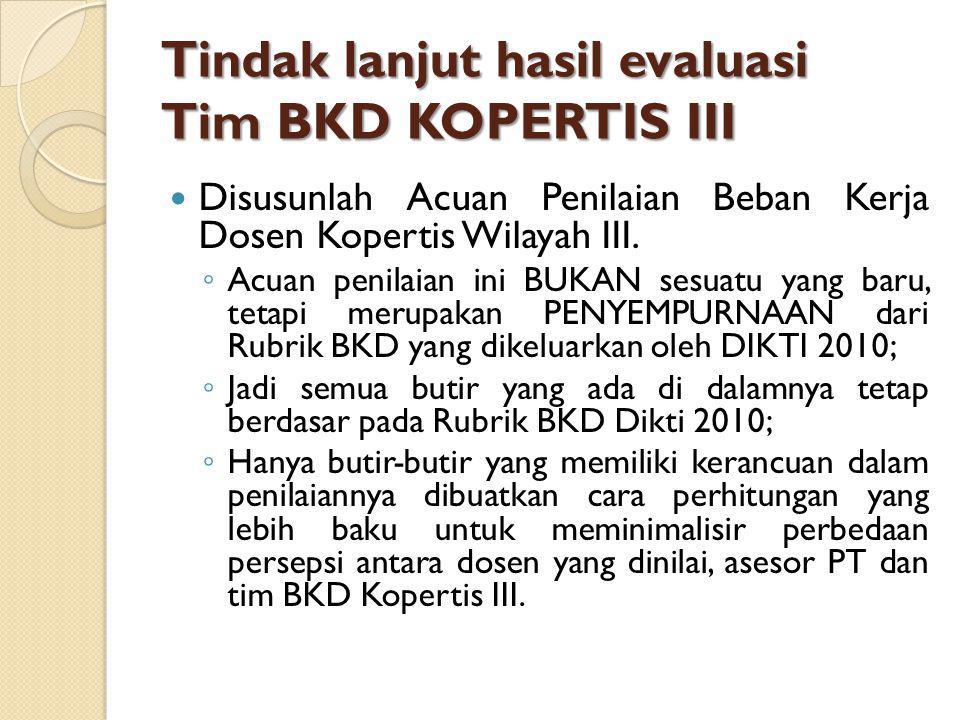 Tindak lanjut hasil evaluasi Tim BKD KOPERTIS III