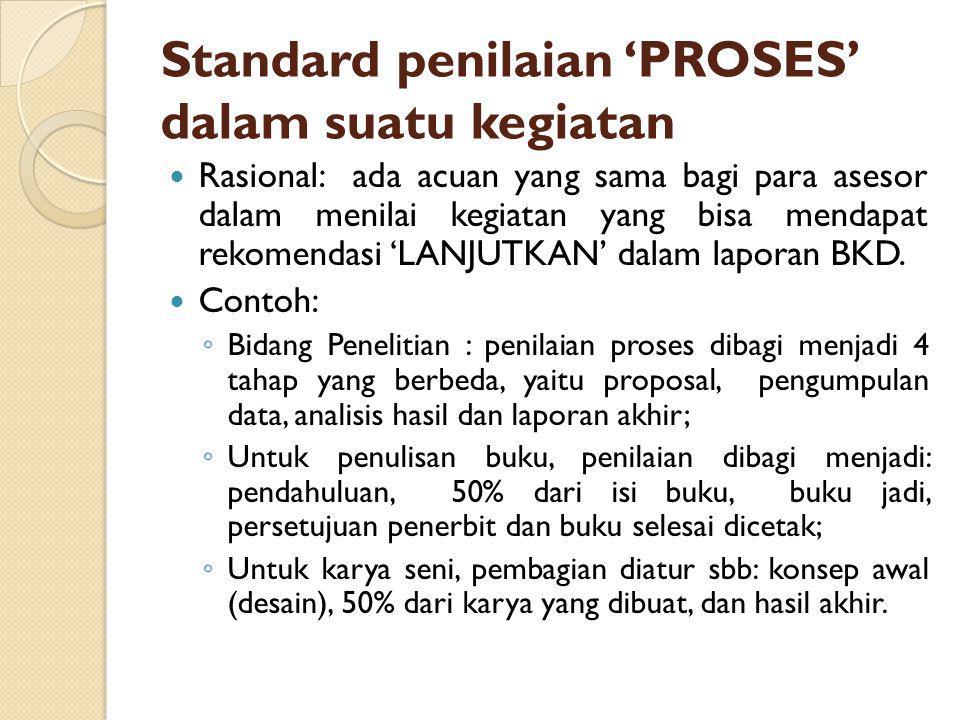 Standard penilaian 'PROSES' dalam suatu kegiatan