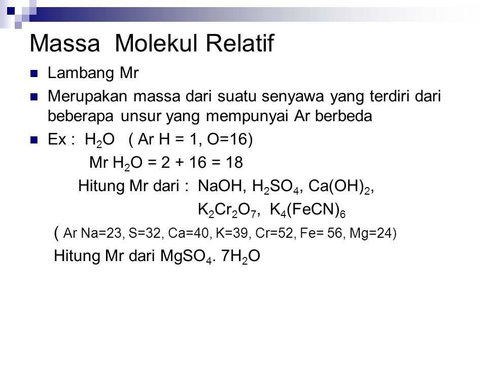 Massa Molekul Relatif Lambang Mr