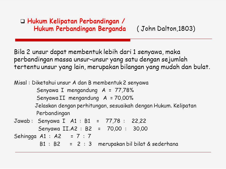 Hukum Kelipatan Perbandingan / Hukum Perbandingan Berganda ( John Dalton,1803)