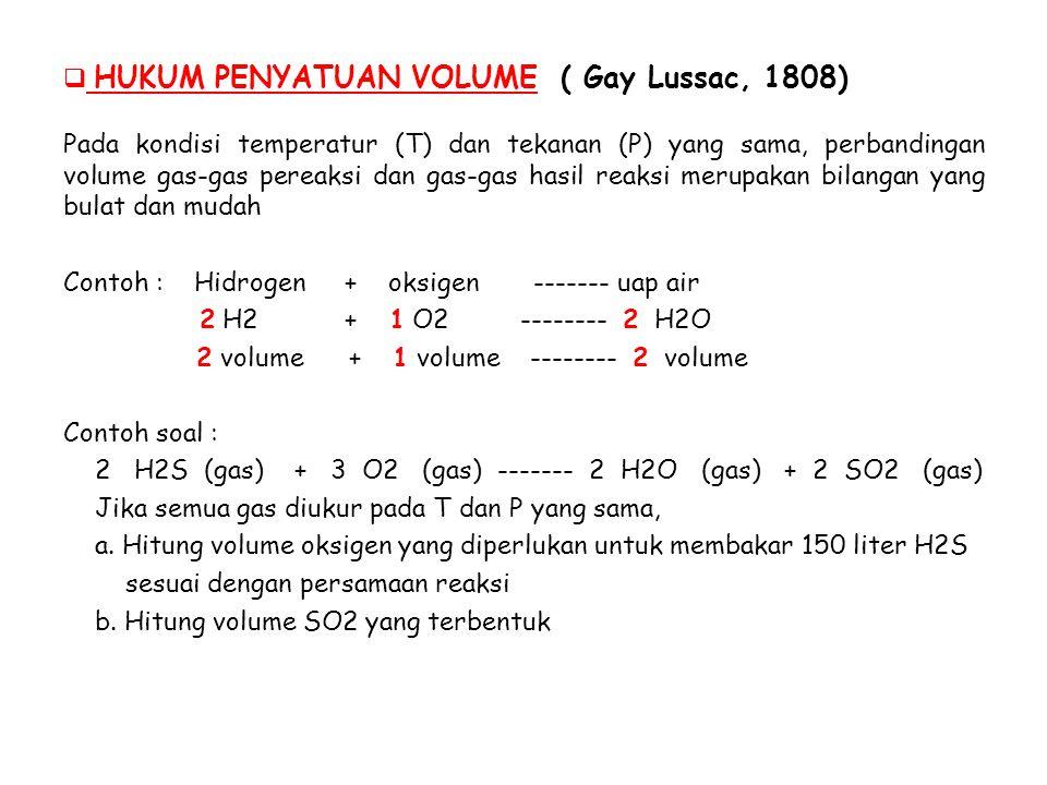 HUKUM PENYATUAN VOLUME ( Gay Lussac, 1808)