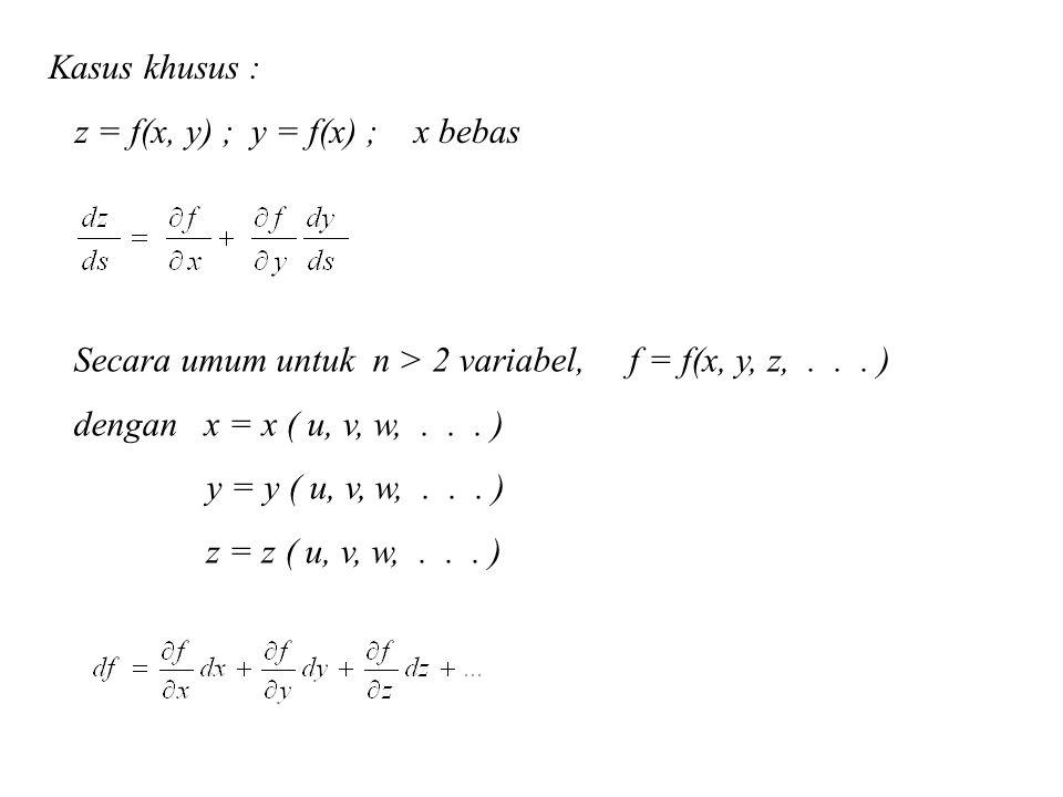 Kasus khusus : z = f(x, y) ; y = f(x) ; x bebas. Secara umum untuk n > 2 variabel, f = f(x, y, z, . . . )