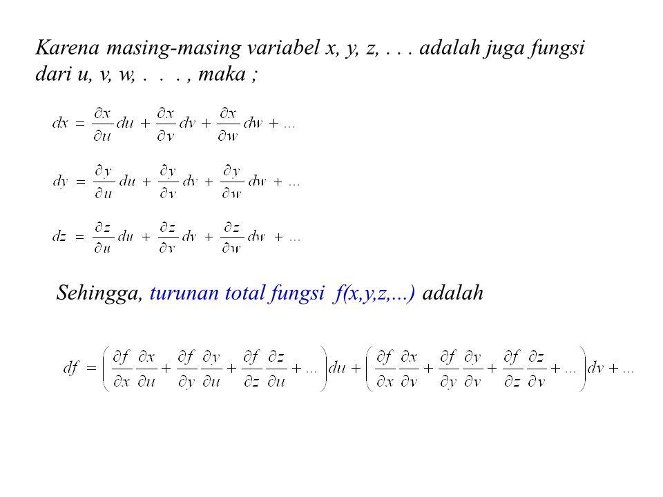 Karena masing-masing variabel x, y, z,