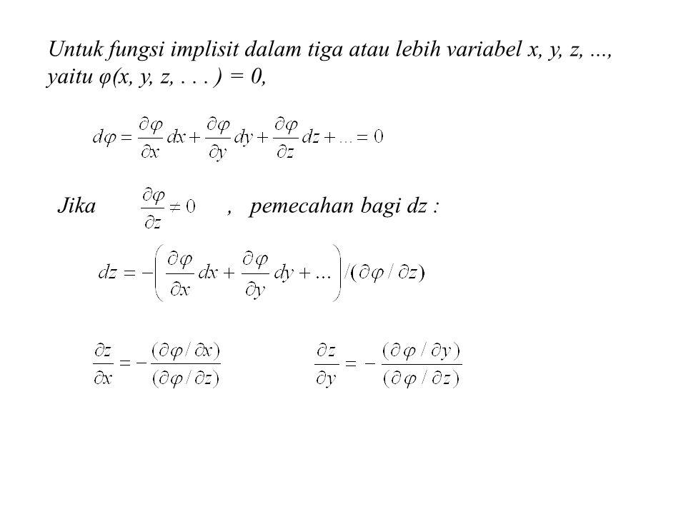 Untuk fungsi implisit dalam tiga atau lebih variabel x, y, z,