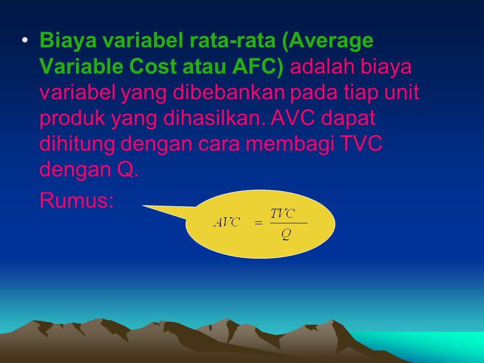 Biaya variabel rata-rata (Average Variable Cost atau AFC) adalah biaya variabel yang dibebankan pada tiap unit produk yang dihasilkan. AVC dapat dihitung dengan cara membagi TVC dengan Q.