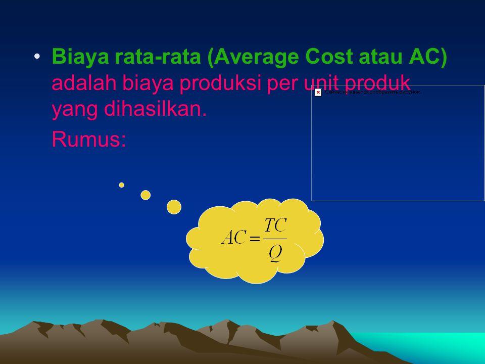 Biaya rata-rata (Average Cost atau AC) adalah biaya produksi per unit produk yang dihasilkan.