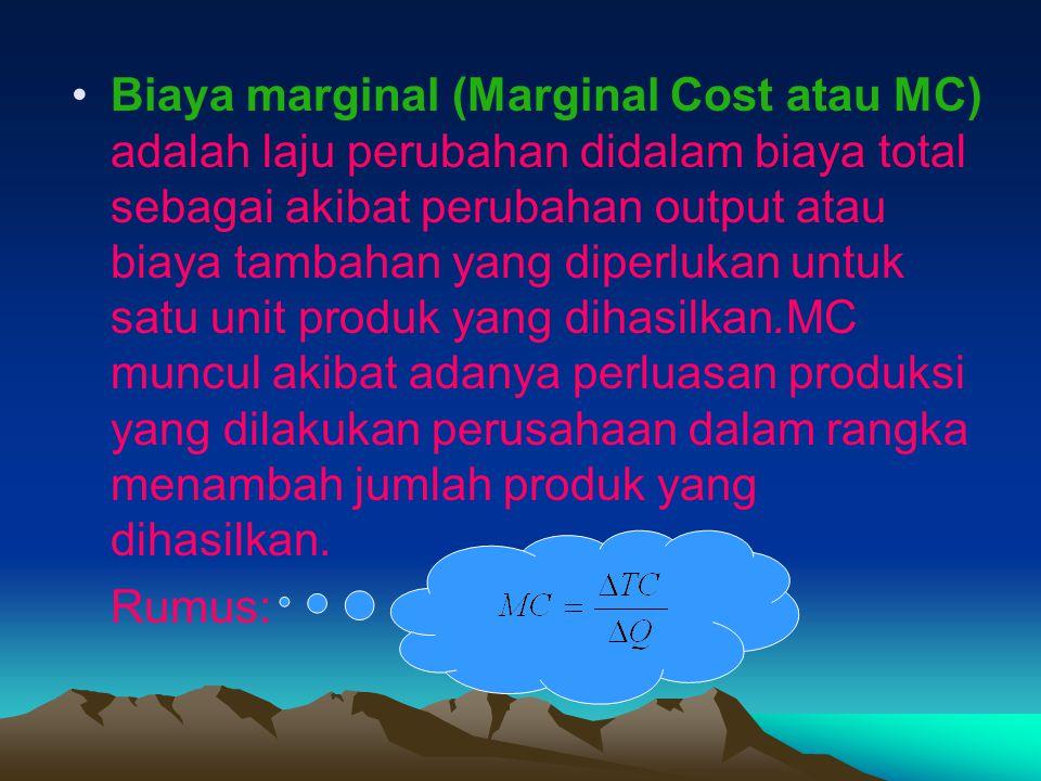 Biaya marginal (Marginal Cost atau MC) adalah laju perubahan didalam biaya total sebagai akibat perubahan output atau biaya tambahan yang diperlukan untuk satu unit produk yang dihasilkan.MC muncul akibat adanya perluasan produksi yang dilakukan perusahaan dalam rangka menambah jumlah produk yang dihasilkan.