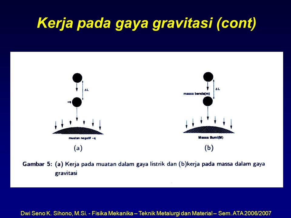 Kerja pada gaya gravitasi (cont)
