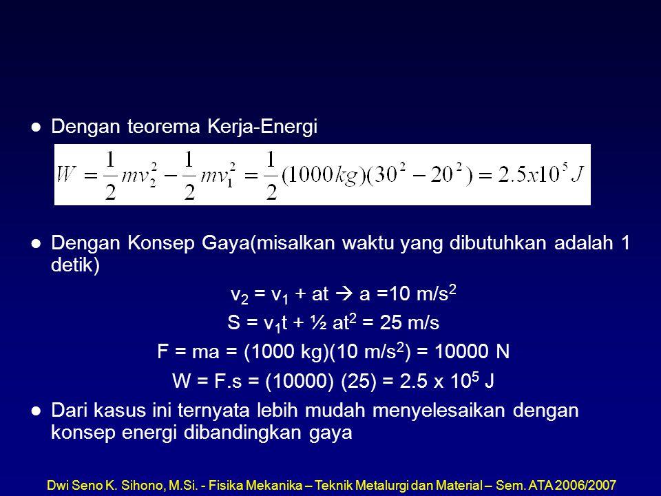 Dengan teorema Kerja-Energi