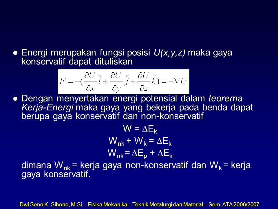 Energi merupakan fungsi posisi U(x,y,z) maka gaya konservatif dapat dituliskan