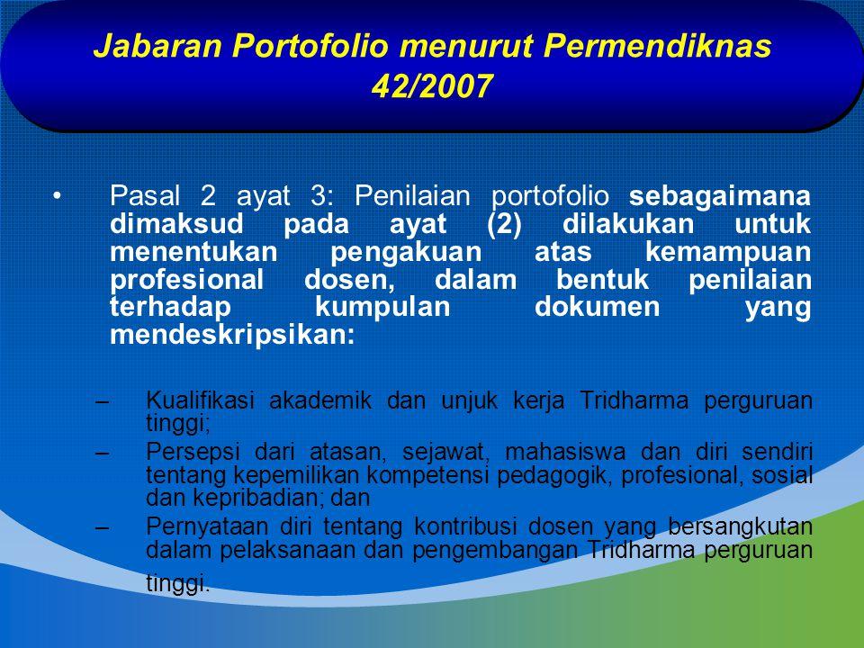 Jabaran Portofolio menurut Permendiknas 42/2007