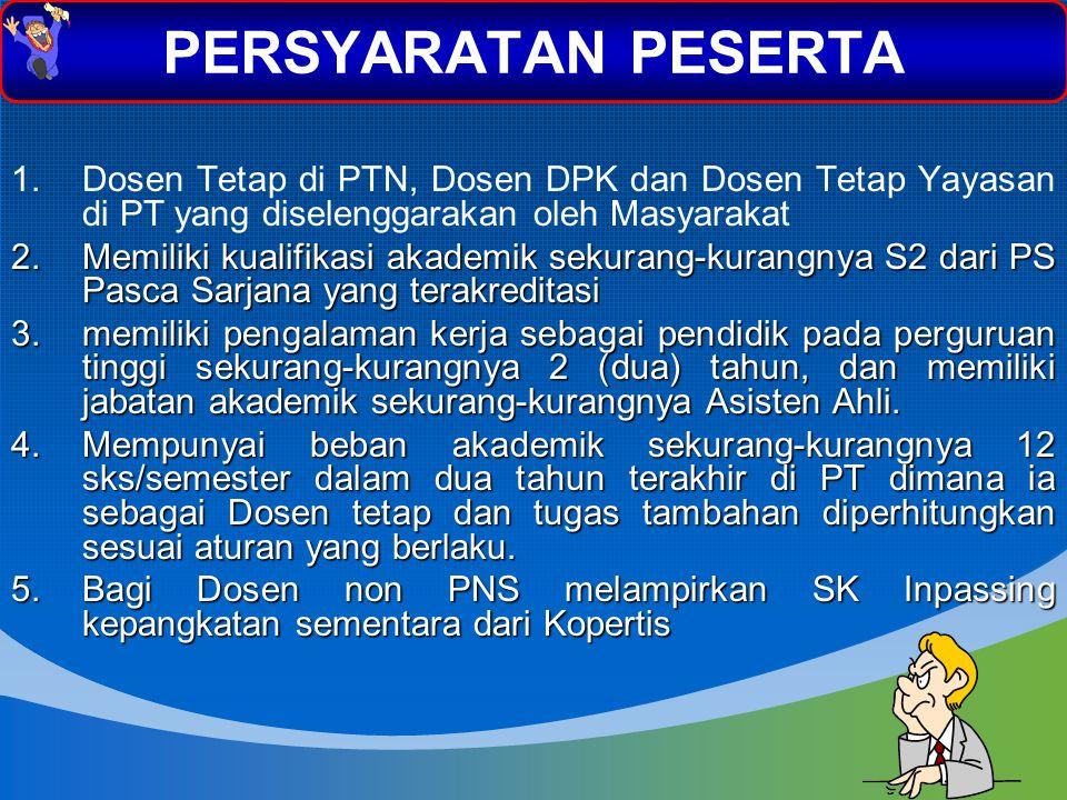PERSYARATAN PESERTA Dosen Tetap di PTN, Dosen DPK dan Dosen Tetap Yayasan di PT yang diselenggarakan oleh Masyarakat.