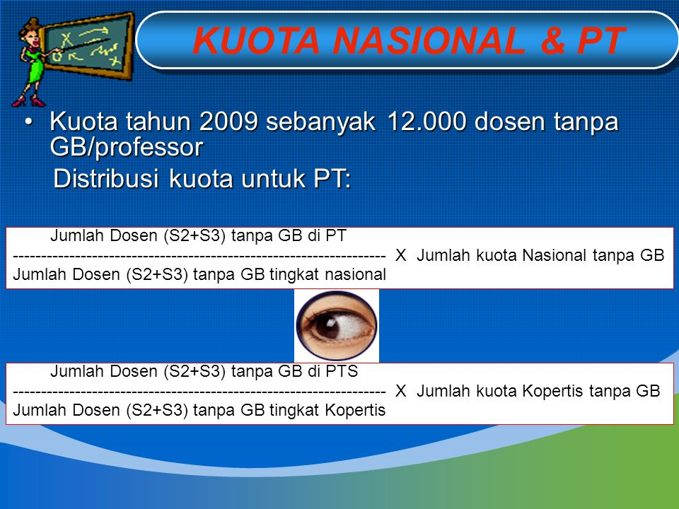 KUOTA NASIONAL & PT Kuota tahun 2009 sebanyak 12.000 dosen tanpa GB/professor. Distribusi kuota untuk PT: