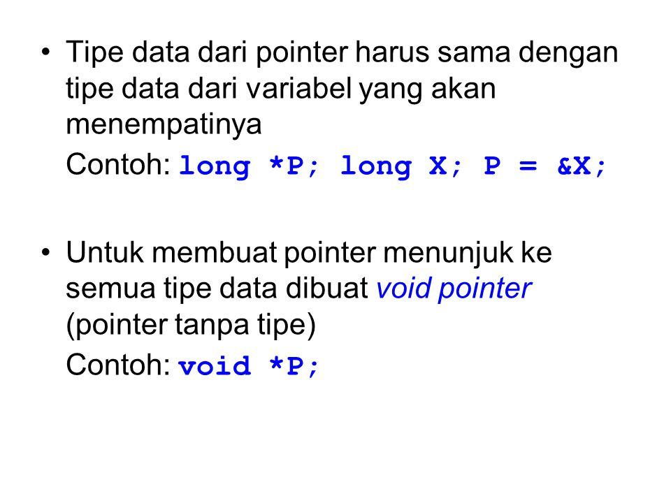 Tipe data dari pointer harus sama dengan tipe data dari variabel yang akan menempatinya