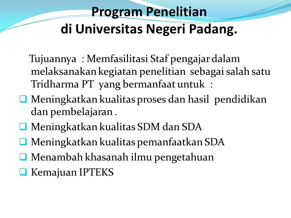 Program Penelitian di Universitas Negeri Padang.