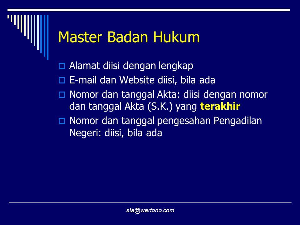 Master Badan Hukum Alamat diisi dengan lengkap