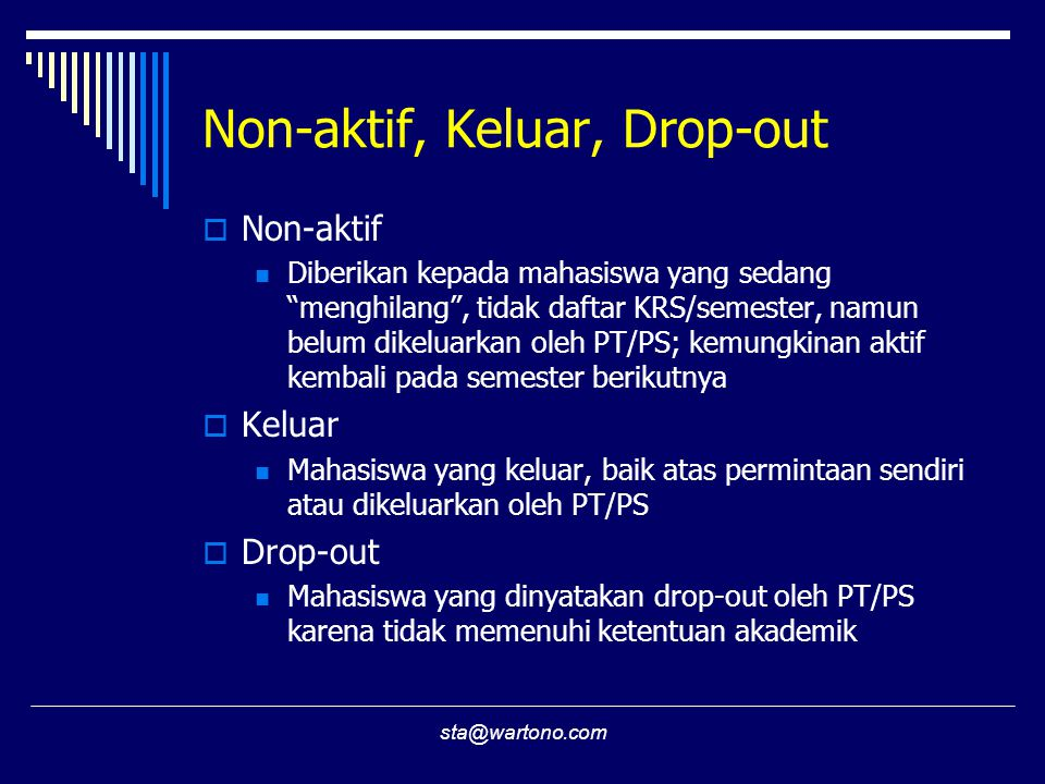 Non-aktif, Keluar, Drop-out