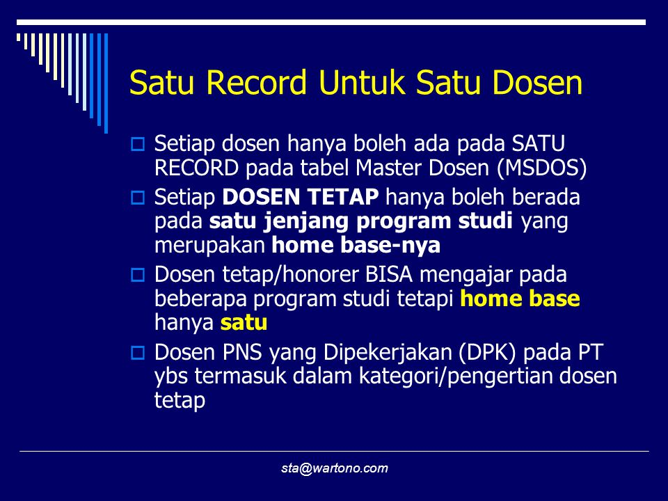 Satu Record Untuk Satu Dosen