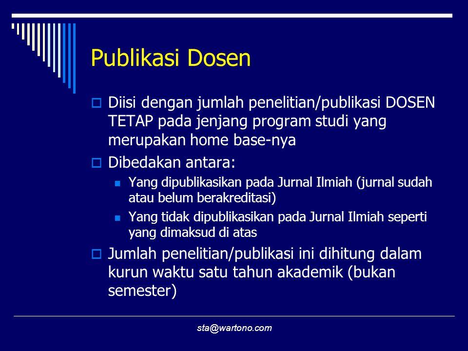 Publikasi Dosen Diisi dengan jumlah penelitian/publikasi DOSEN TETAP pada jenjang program studi yang merupakan home base-nya.