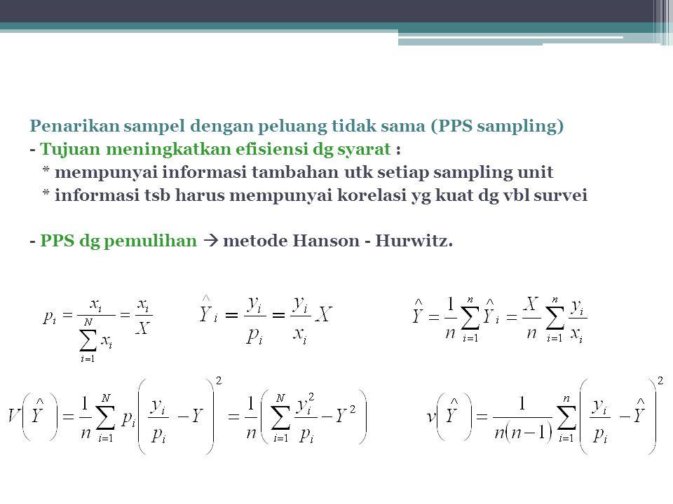 Penarikan sampel dengan peluang tidak sama (PPS sampling) - Tujuan meningkatkan efisiensi dg syarat : * mempunyai informasi tambahan utk setiap sampling unit * informasi tsb harus mempunyai korelasi yg kuat dg vbl survei - PPS dg pemulihan  metode Hanson - Hurwitz.