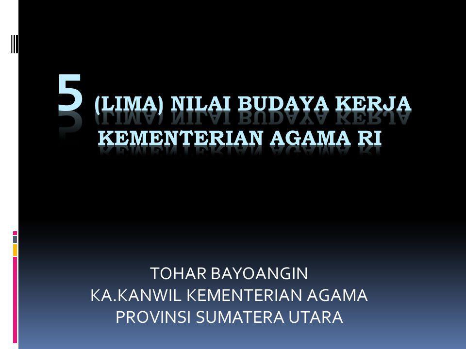 5 (LIMA) NILAI BUDAYA KERJA KEMENTERIAN AGAMA RI