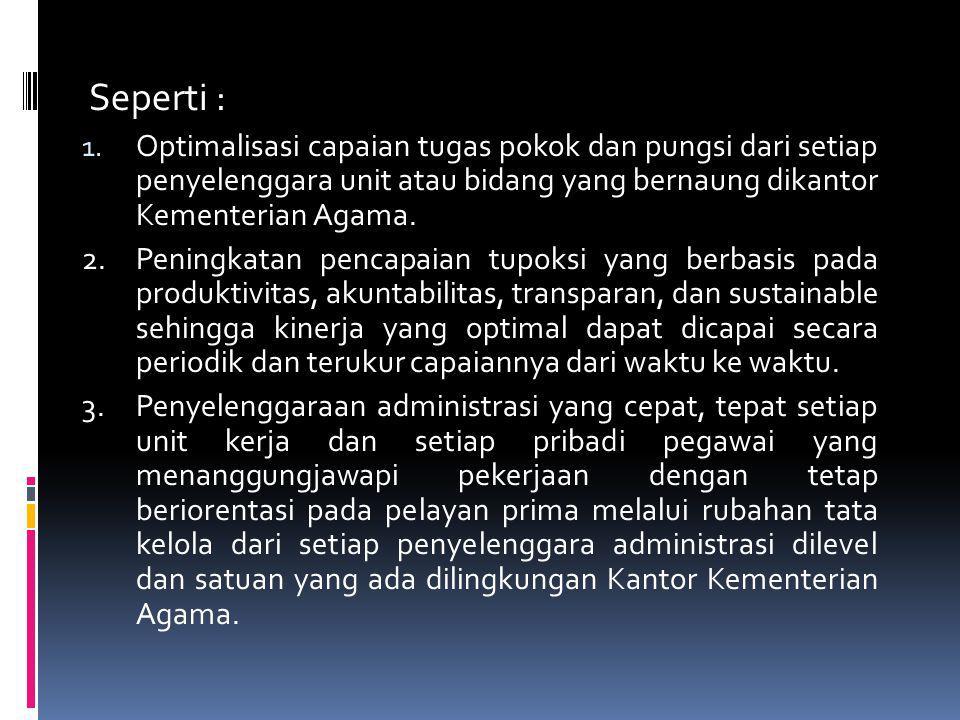 Seperti : Optimalisasi capaian tugas pokok dan pungsi dari setiap penyelenggara unit atau bidang yang bernaung dikantor Kementerian Agama.