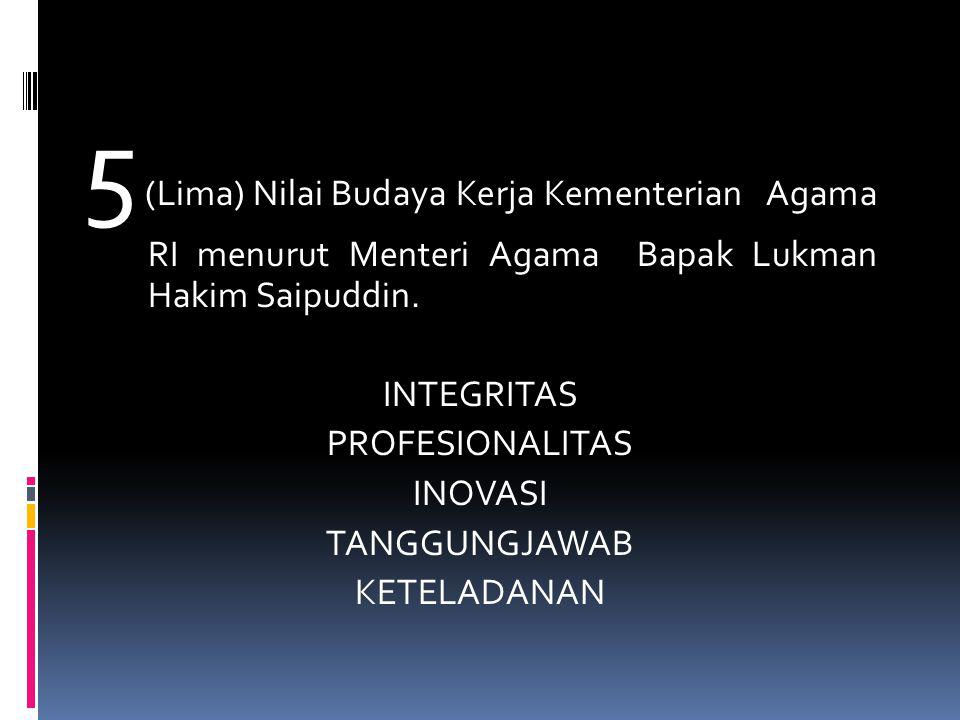 5 (Lima) Nilai Budaya Kerja Kementerian Agama RI menurut Menteri Agama Bapak Lukman Hakim Saipuddin.