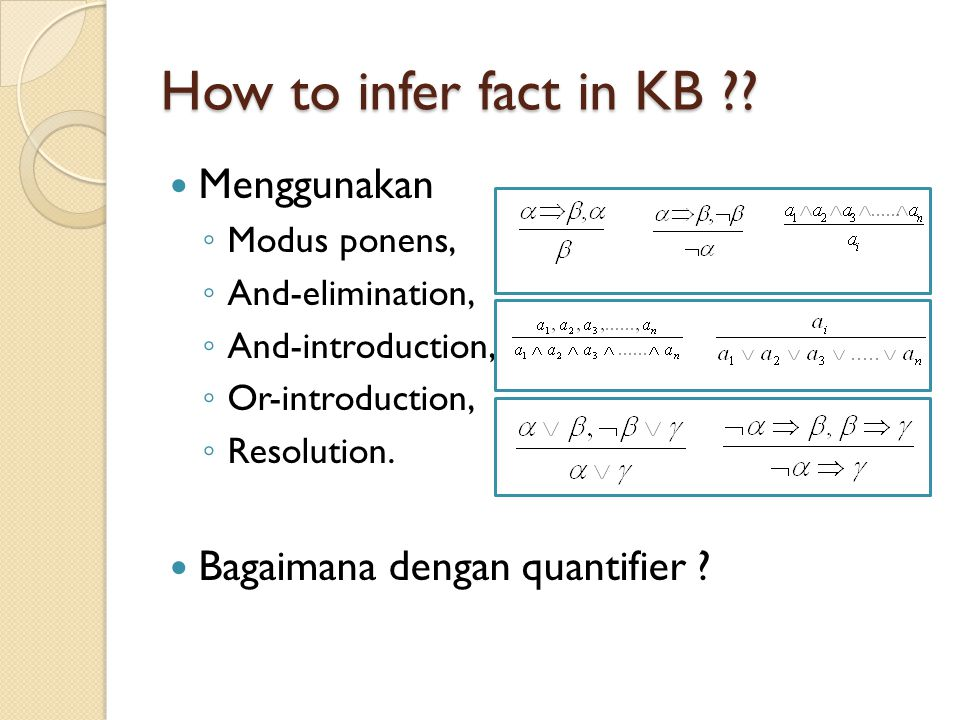 How to infer fact in KB Menggunakan Bagaimana dengan quantifier