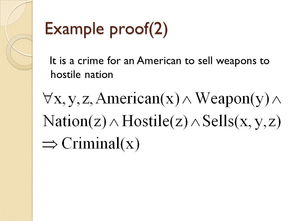 Example proof(2) It is a crime for an American to sell weapons to hostile nation