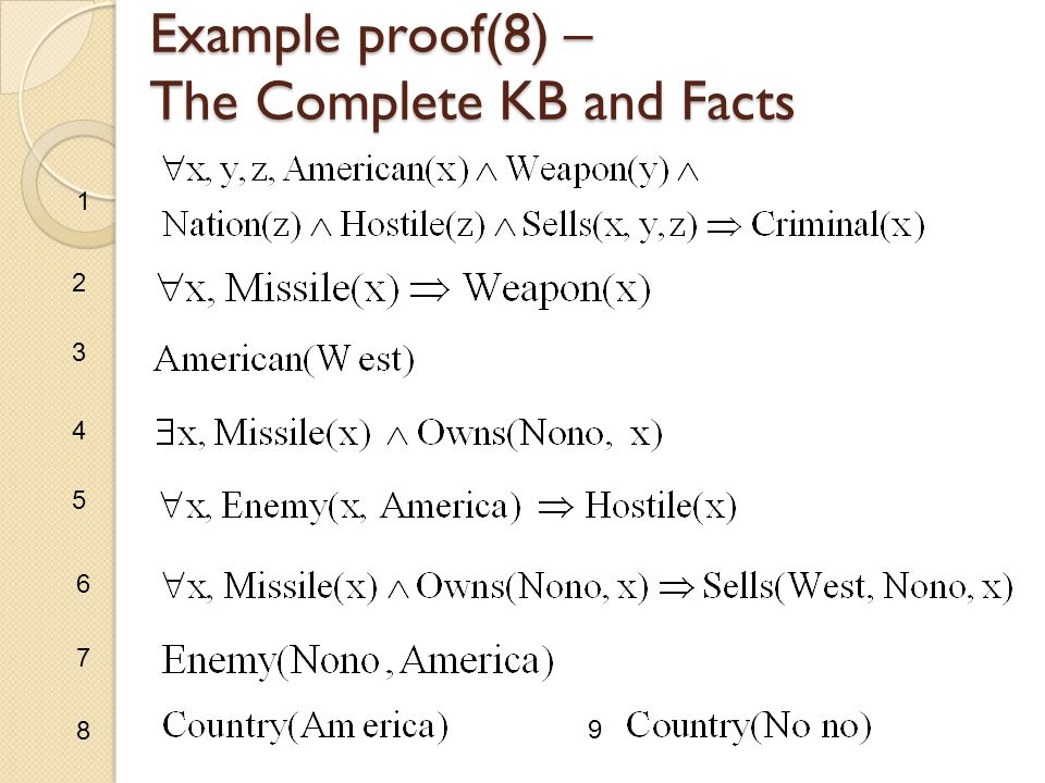 Example proof(8) – The Complete KB and Facts