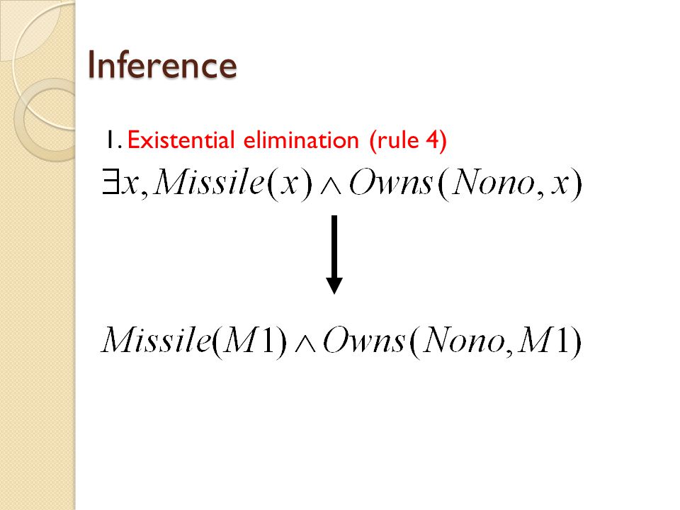 Inference 1. Existential elimination (rule 4)