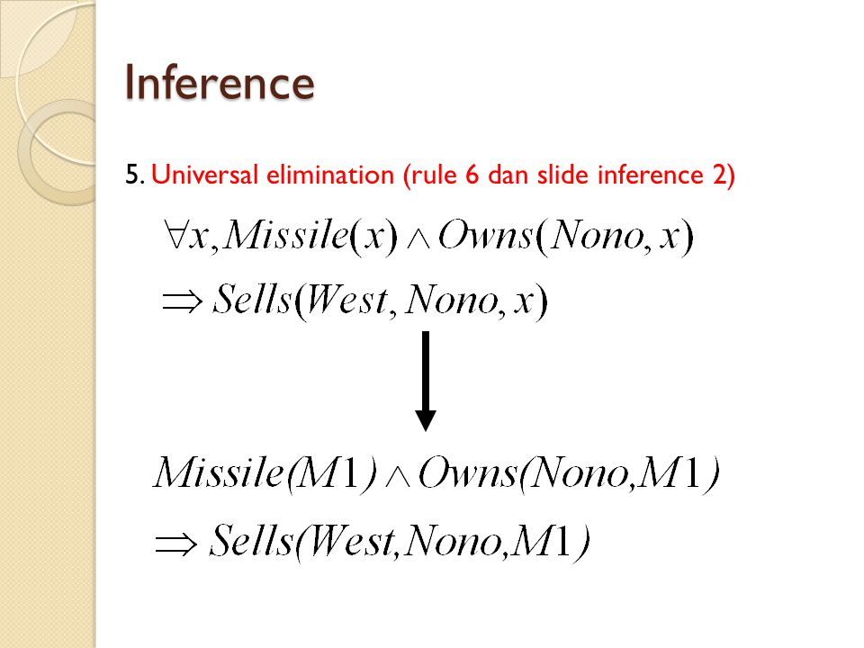 Inference 5. Universal elimination (rule 6 dan slide inference 2)