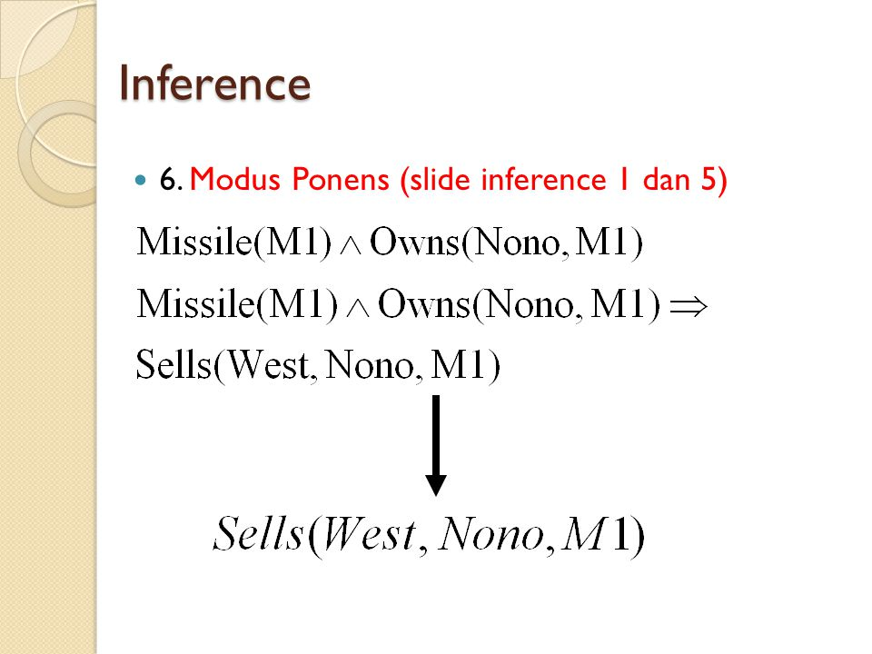 Inference 6. Modus Ponens (slide inference 1 dan 5)