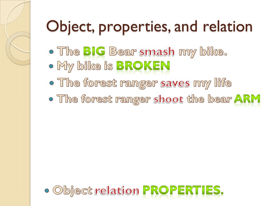 Object, properties, and relation